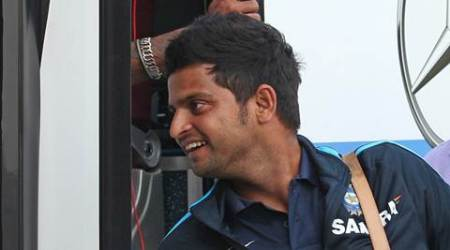 Indian Cricketer Suresh Raina arrives at JW Marriott for their upcoming ODI match played at PCA Stadium in Mohali, in Sector 35 of Chandigarh on Thursday, October 17 2013. Express Photo by Kamleshwar Singh