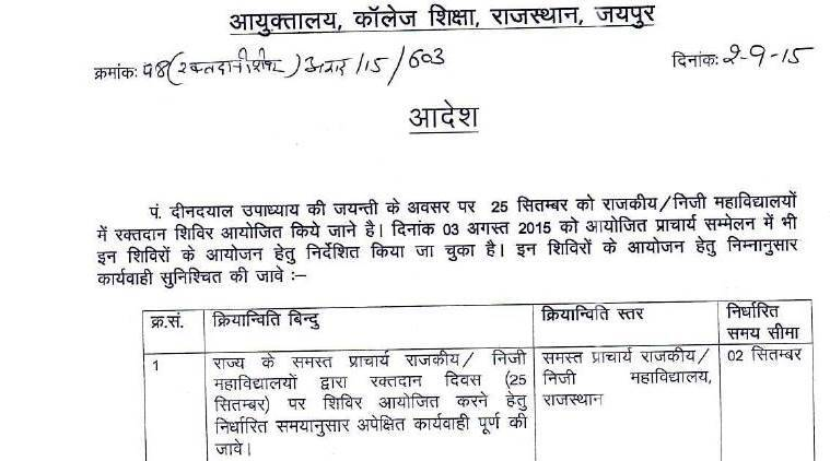 Rajasthan govt orders blood donation camps on ideologue's