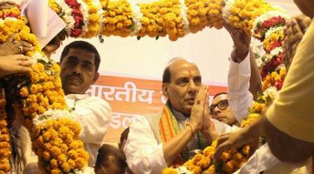 Union Home Minister of India Rajnath Singh at party workers meeting at old city of Lucknow on saturday.Express photo by Vishal Srivastav 26.09.2015