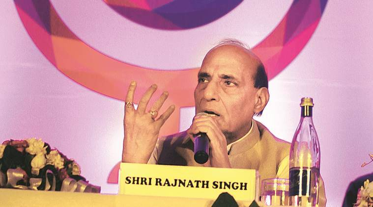 Union Home Minister Rajnath Singh during interact with the Students at the Shriram College of Commerce in new Delhi on Friday Express photo by Prem Nath Pandey 18 sep1 5
