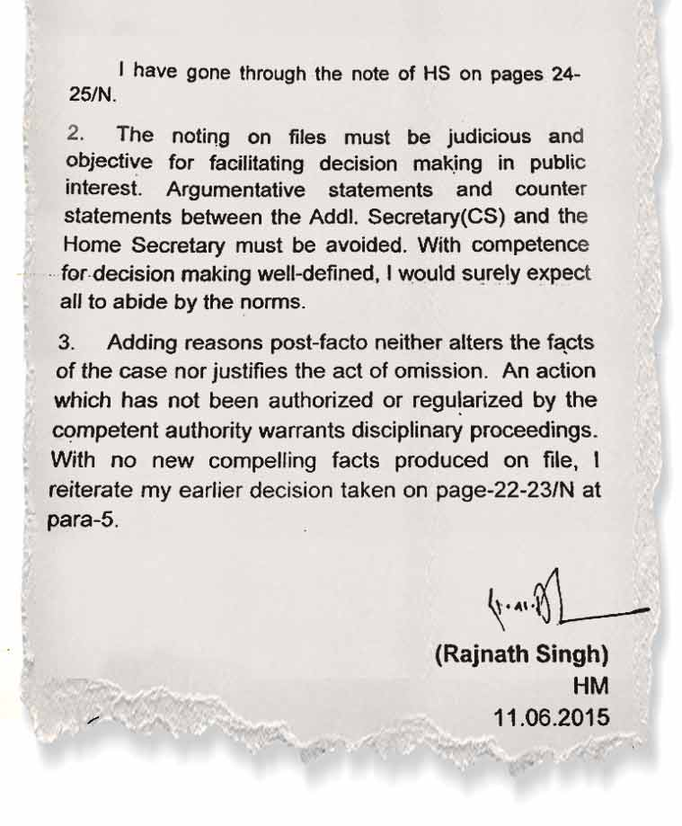Home Minister explains in his note of June 11, 2015
