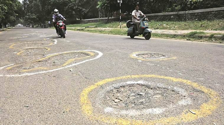 roads, haryana road, chandigarh road, road condition, HUDA, HSIIDC, DGHS, chandigarh news, indian express