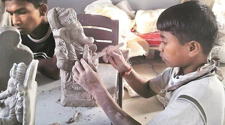 snehalaya, NGO  snehalaya, HIV positive children, HIC children, clay modellling ganehs, lord ganesh idol, pune news, indian express