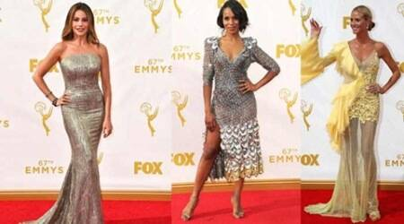 Shimmer, solids dominate the Emmy red carpet