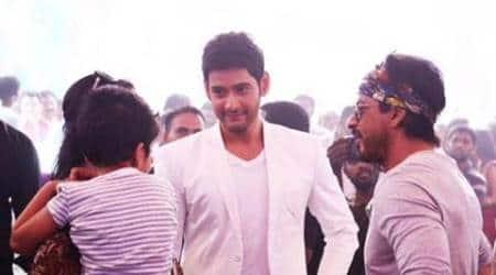When superstars met: Shah Rukh Khan visits Mahesh Babu on 'Brahmotsavam' sets