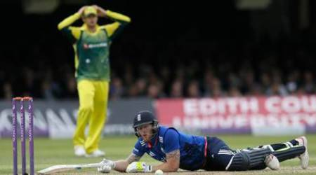 England's Ben Stokes lies on the floor after diving back to his wicket, before being judged out after an appeal for obstructing the field during the One Day International cricket match between England and Australia at Lord's Cricket Ground, London, Saturday, Sept. 5, 2015. (AP Photo/Tim Ireland)