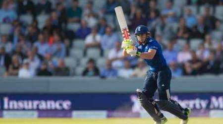 England's James Taylor plays a shot during the One Day International cricket match between England and Australia at Old Trafford cricket ground in Manchester, England, Tuesday, Sept. 8, 2015. (AP Photo/Jon Super)