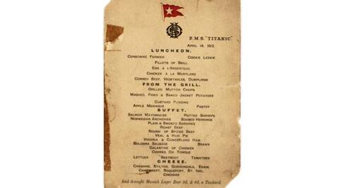 See pic: Titanic's last luncheon menu to be auctioned