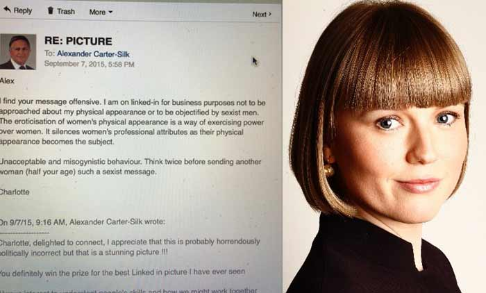 UK lawyer Charlotte Proudman tweeted out the sexist message she received on LinkedIn. (Source: Charlotte Proudman's Twitter account)