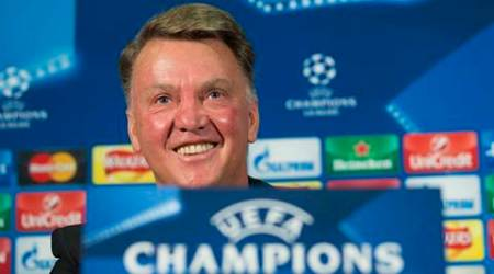 Manchester United's manager Louis van Gaal smiles as he speaks during a press conference at Old Trafford Stadium, Manchester, England, Tuesday, Sept. 29, 2015. Manchester United will play VFL Wolfsberg in a Champions League group B soccer match on Wednesday.  (AP Photo/Jon Super)