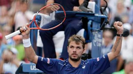 Stan Wawrinka, of Switzerland, reacts after beating Donald Young, of the United States, during the fourth round of the U.S. Open tennis tournament, Monday, Sept. 7, 2015, in New York. (AP Photo/Charles Krupa)