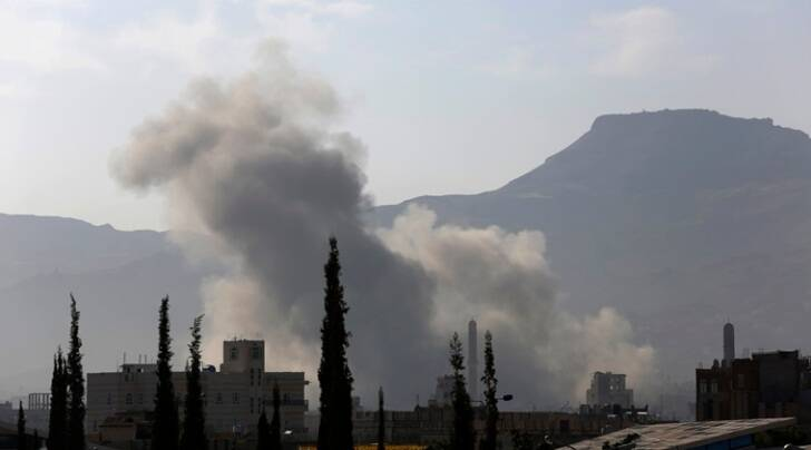 Smoke rises after a Saudi-led airstrike in Sanaa, Yemen, Tuesday, Sept. 22, 2015. (AP Photo/Hani Mohammed)