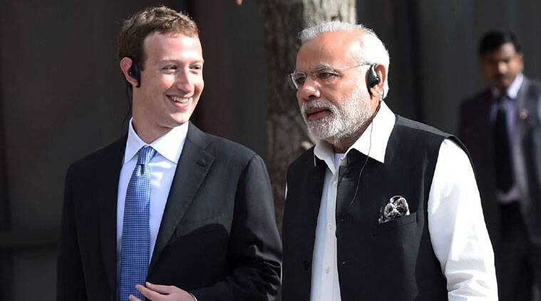Mark Zuckerberg with PM Modi. (Source: PTI)