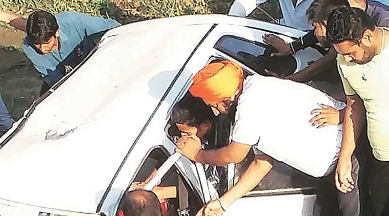 At the accident site at Narayangarh on Wednesday. (Source: Express Photo)