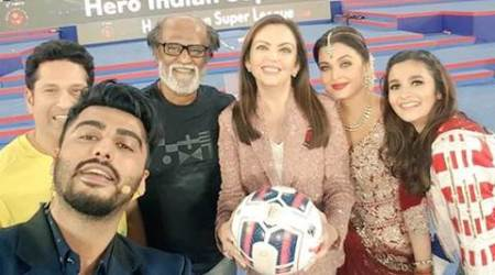 Indian Super League, Indian Super League 2, ISL, ISL 2, ISL Football, ISL opening ceremony, Amitabh Bachchan, Aishwarya rai, rajinikanth, arjun kapoor, alia bhatt, football photos, isl photos, football