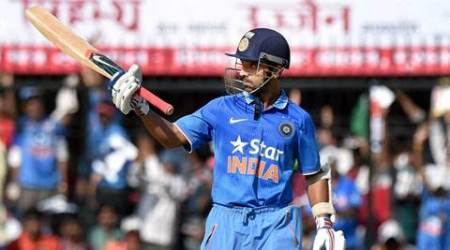 Indore: India's Ajinkya Rahane celebrates his half century against South Africa during the  2nd ODI match at Holkar Cricket Stadium in Indore on Wednesday. PTI Photo by Atul Yadav(PTI10_14_2015_000180A)