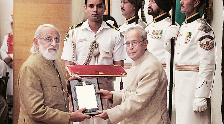 Filmmaker M S Sathyu receives the Sangeet Natak Akademi Fellowship from President Pranab Mukherjee at the Rashtrapati Bhavan on Friday. (Source: Express photo by Amit Mehra)