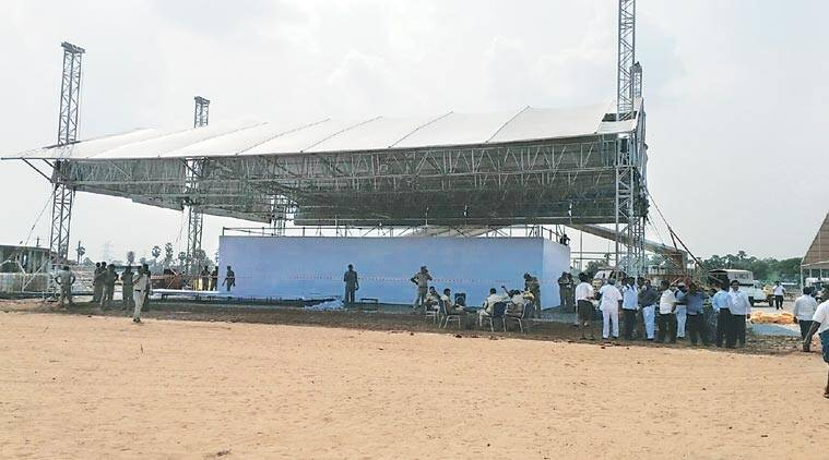 Preparations at the site of the proposed foundation stone-laying ceremony.