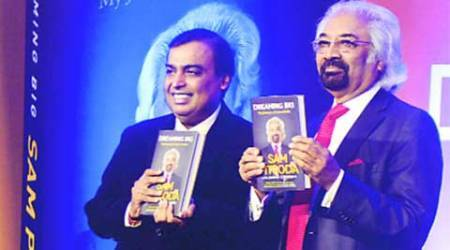 RIL Chairman Mukesh Ambani at the launch of the book 'Dreaming Big – My Journey to Connect India', authored by Sam Pitroda (right) in Mumbai on Tuesday. (Express Photo by: Vasant Prabhu)