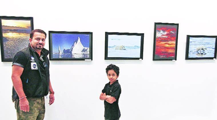 Mitul Dikshit showcases his work at the Alliance Francaise, Sector 36, in Chandigarh.  Express