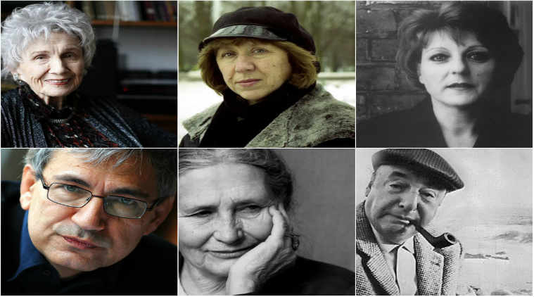 L1- Alice Munro, Svetlana Alexievich, Herta Muller L2- Orhan Pamuk, Doris Lessing, Pablo Neruda