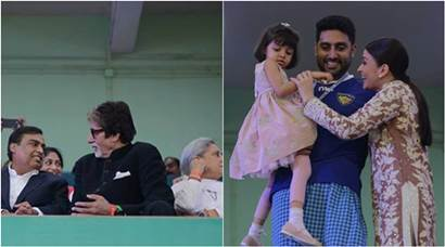 Aishwarya Rai, Aaradhya, Amitabh Bachchan at the opening ceremony of ISL 2