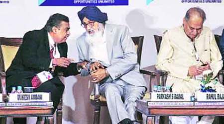 Parkash Singh Badal, Reliance Industries, RIL, Mukesh Ambani, Punjab, Progressive Punjab Investment Summit, indian express, business news