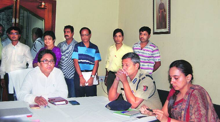 SEC Alapan Bandyopadhyay (left) with Bidhannagar Police Commissioner Jawed Shamim, in Kolkata on Thursday. (Express photo)