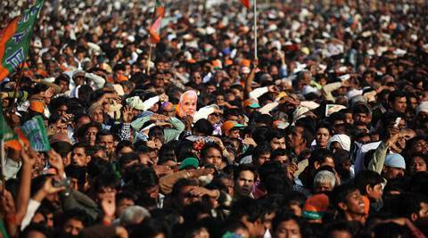 Crowd at the BJP Narendra Modi rally in Agra on Thursday. Express Photo by Tashi Tobgyal New Delhi 211113