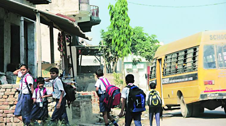 Students head home after school in Bisara.  Gajendra Yadav