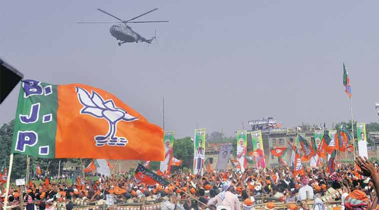 Prime Minister Narendra Modi's chopper at his rally in Buxar, Monday. (Express Photo by: Prashant Ravi)