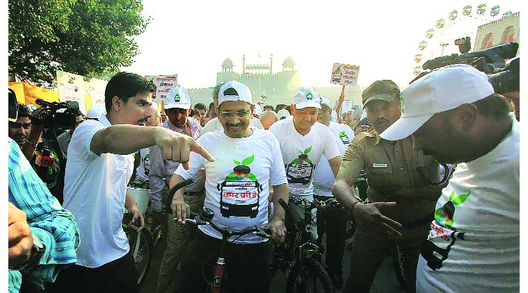 CM Arvind Kejriwal, Mansih Sisodia, car free day, delhi car free day, delhi news, indian express