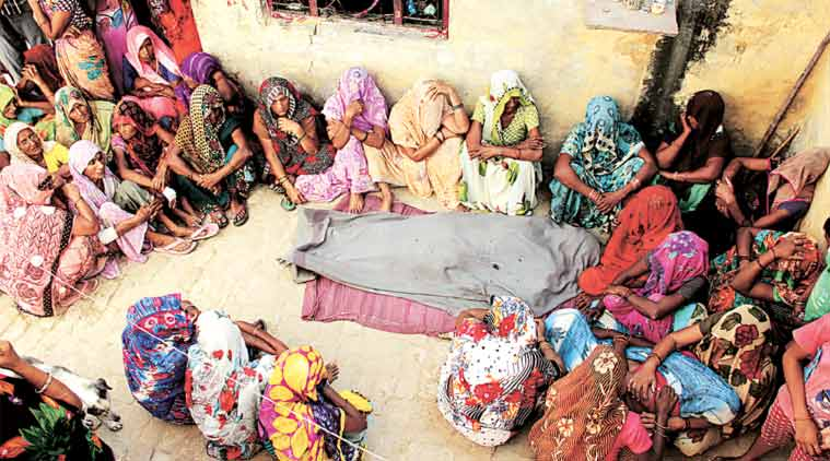 At the Bisara home of Jai Prakash, who was found dead on Tuesday morning. (Express photo by Gajendra Yadav)