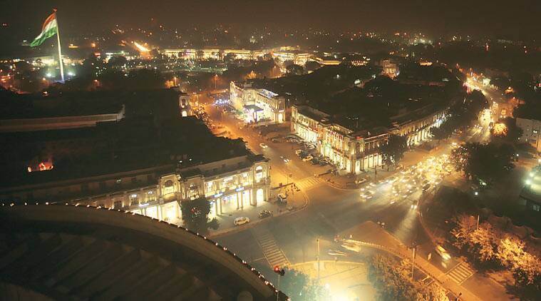 A rooftop view of Connaught Place (New Delhi). Brands hosted: Tommy Hilfiger, Louis Philippe, Dominos, Subway, PVR Plaza. (Source: Express Archive)