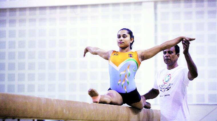 Dipa Karmakar totalled 52.698 over the four apparatus at the Olympic qualification Test event in Rio on Sunday.