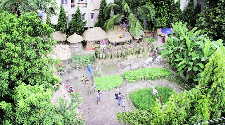 An aerial view of the puja pandal in Kolkata on Thursday.