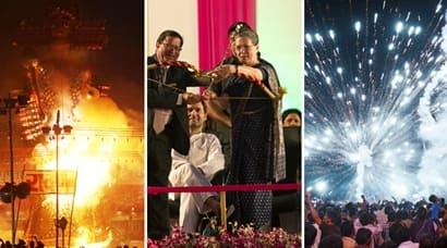 Dussehra, Happy Dussehra, Dusshera 2015, Ravana, Rama, Burning Ravana, Ravana Effigy, Dussehra Photos, Sonia Gandhi, Rahul Gandhi, Rajnath Singh, Pranab Mukherjee, Manmohan Singh, Dussehra Pics