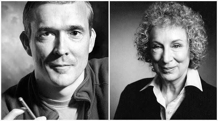 British novelist David Mitchell (left) and Canadian writer Margaret Atwood