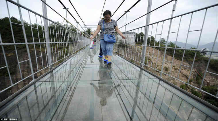 China's newly built glass bridge just cracked
