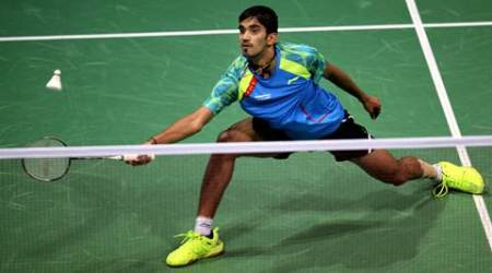India's K Srikanth in action during the men's India Open final against Denmark's Ciktor Axelsen in New Delhi on March 29th 2015. Express Photo by Ravi Kanojia.