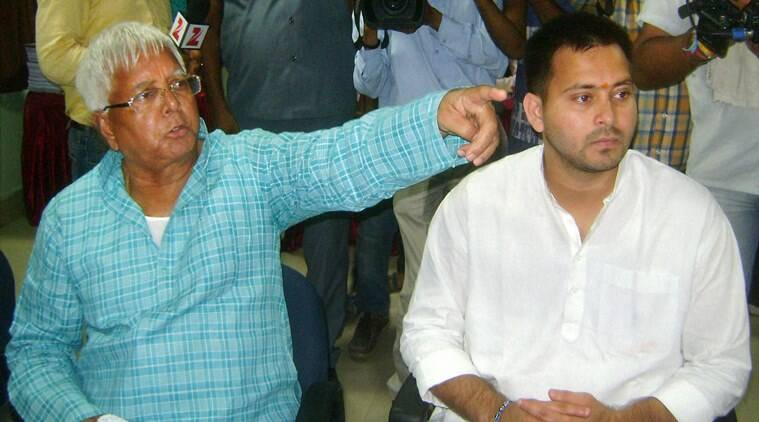 RJD chief Lalu Prasad during filing of nomination papers by his son and party candidate from