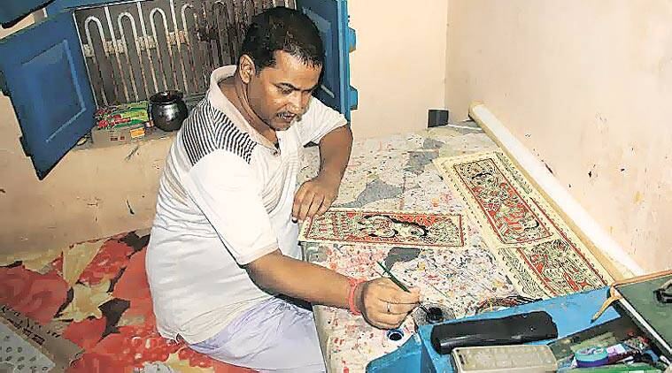Bihar polls, Madhubani art, Nitish kumar, Bihar elections 2015, Madhubani painters naitish kumar, Nitish kumar visits madhubani artists, madhubani art museum, Bihar news, nation news, india news