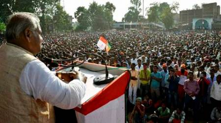 Jitan Ram Manjhi addressing election rally