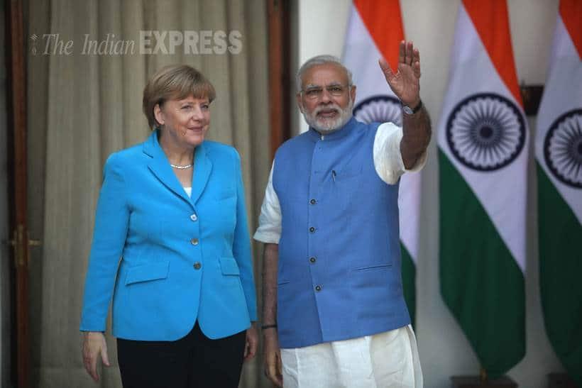 merkel, angela merkel, german chancellor, narendra modi, modi, modi merkel modi merkel meet, india germany talks, german chancellor in india, merkel in india, india news