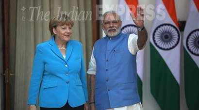 merkel, angela merkel, german chancellor, narendra modi, modi, modi merkel modi merkel meet, india germany talks, german chancellor in india, merkel in india, india news