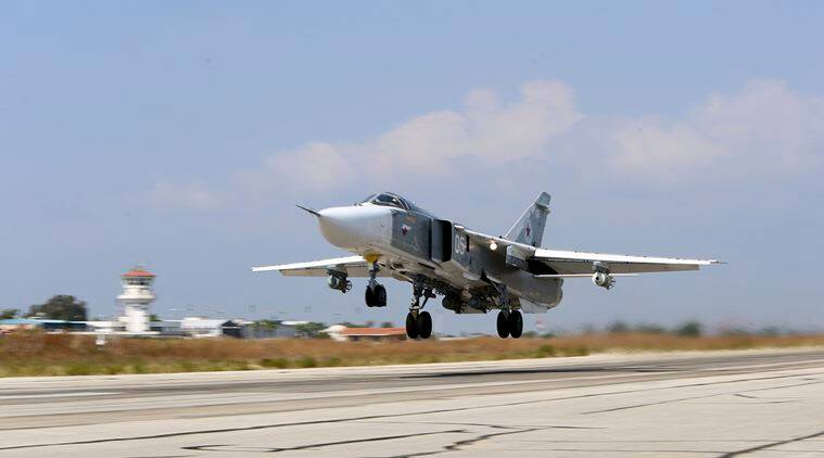 In this file photo Russian SU-24M jet fighter armed with laser guided bombs takes off from a runaway at Hmeimim airbase in Syria. (Source: AP File Photo)