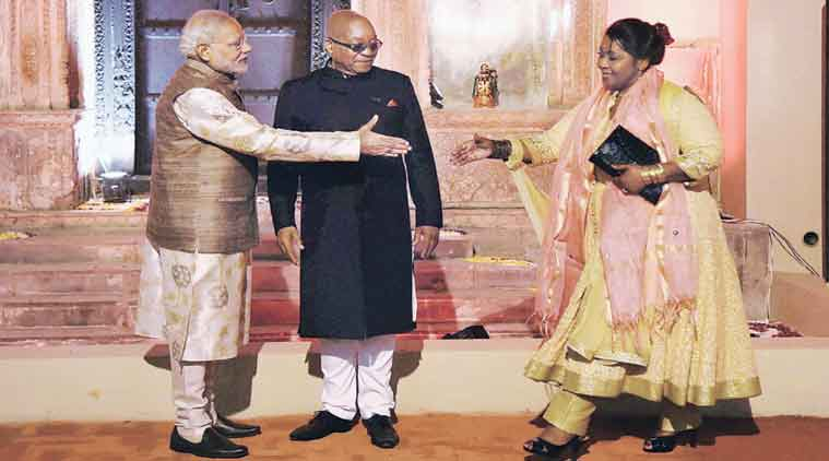 Prime Minister Modi with South African President Jacob Zuma and his wife Bongi Ngema, in Delhi Wednesday. (Source: PTI)