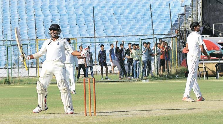 Sumit Narwal's century helped Delhi set Rajasthan 336-run target. (Source: Express Photo by Rohit Jain Paras)