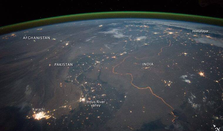 A photograph showing the international border between India and Pakistan at night from the International Space Station (Photo source: NASA)