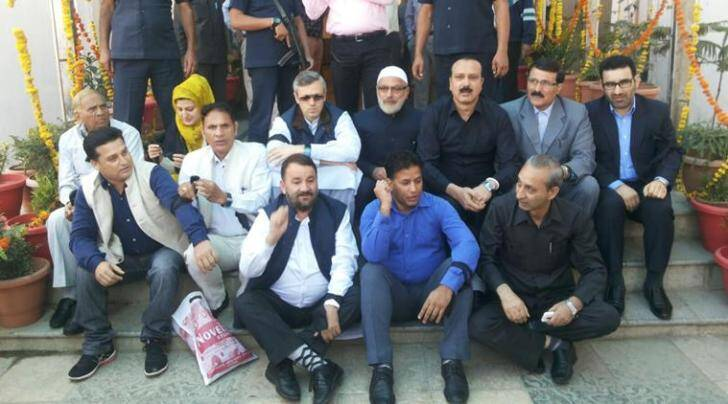 National Conference legislators including chief Omar Abdullah protesting the suspension of some of their MLAs (Express photo)